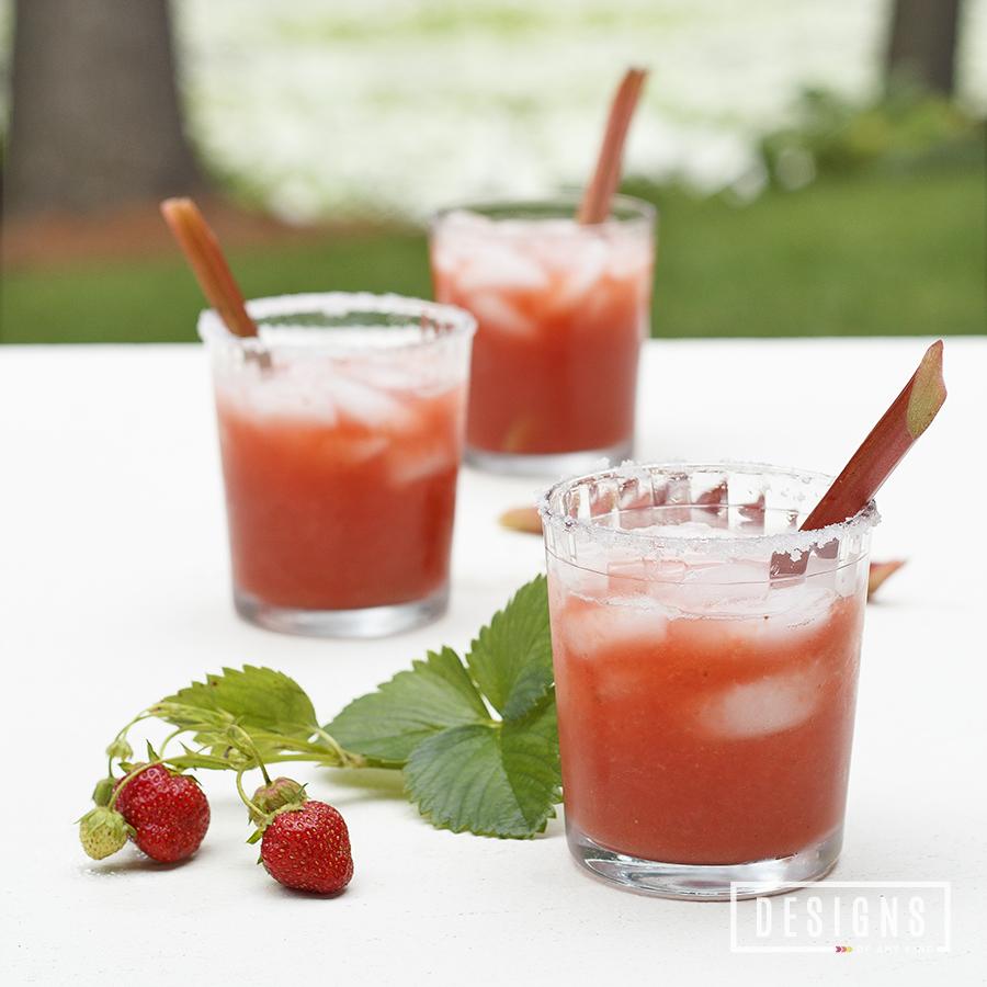 Strawberry-Rhubarb Margaritas - Designs of Any Kind