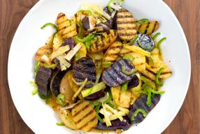 Grilled Potato Salad with Leek + Jalapeño Vinaigrette