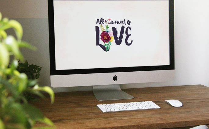 "Dress Your Tech // All we need is love - Hey lovebirds, it's almost Valentine's Day! Get your tech in the spirit with these ""All you need is love"" wallpapers. Iphone, Android and desktops available. Find them at www.designsofanykind.com"