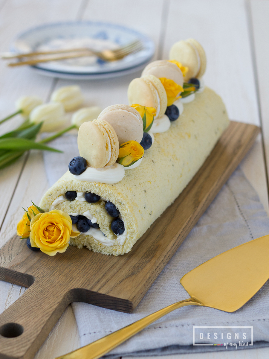 Blueberry + Lemon-Thyme Roulade Cake. It's springtime and this blueberry + lemon-thyme roulade cake is the perfect mouthwatering, low-fat dessert to celebrate the change of the season. Recipe at www.designsofanykind.com