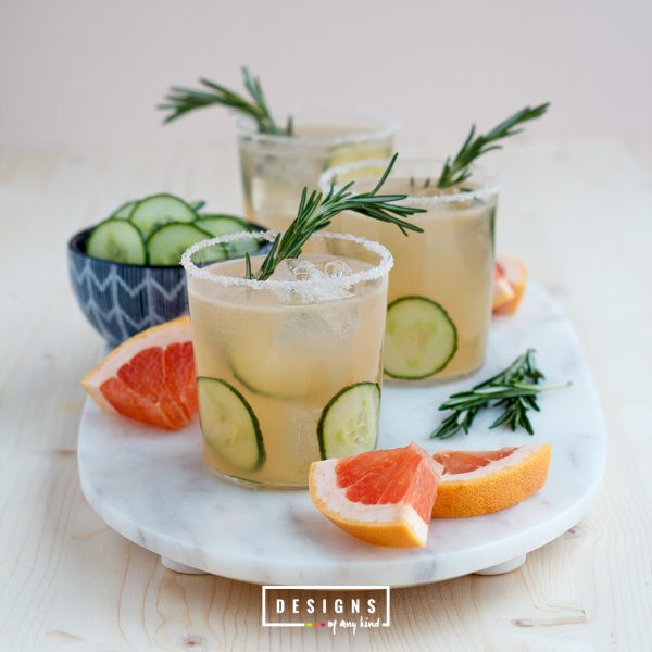 Cucumber Rosemary Paloma. Beat the summer heat with this very refreshing Cucumber Rosemary Paloma, a traditional mexican sparkling grapefruit cocktail. Recipe at www.designofanykind.com