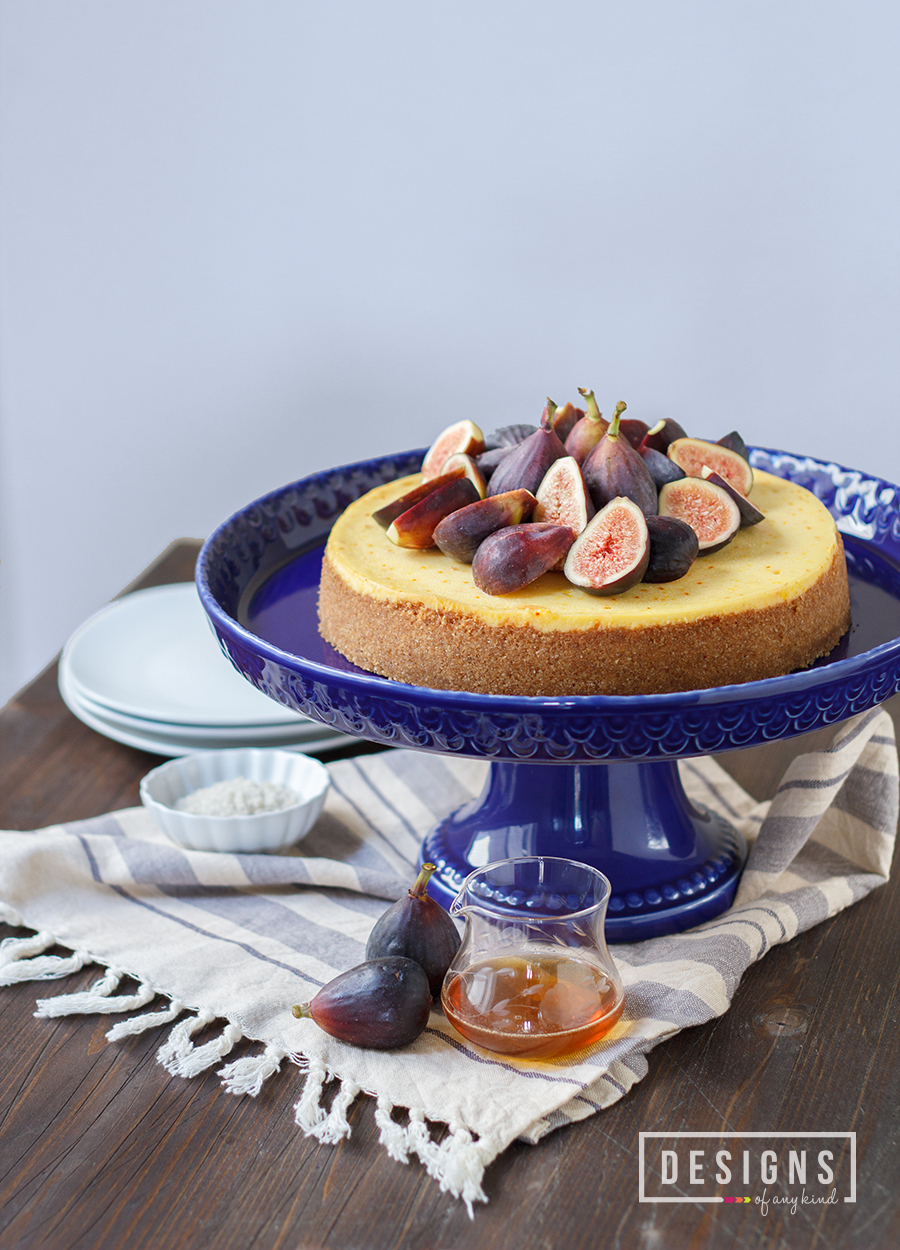 Saffron & Hazelnut Cheesecake with Honeyed Figs - Sinful and Velvety. This saffron cheesecake, with a hazelnut graham cracker crust, is topped with honeyed figs and a dash of Fleur de sel. www.designsofanykind.com