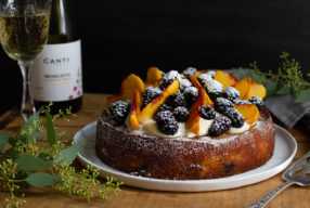 Blackberry Peach Moscato Cake