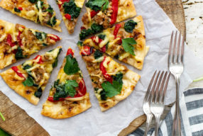 Spinach & Sausage Naan Flatbread with Lemon Honey